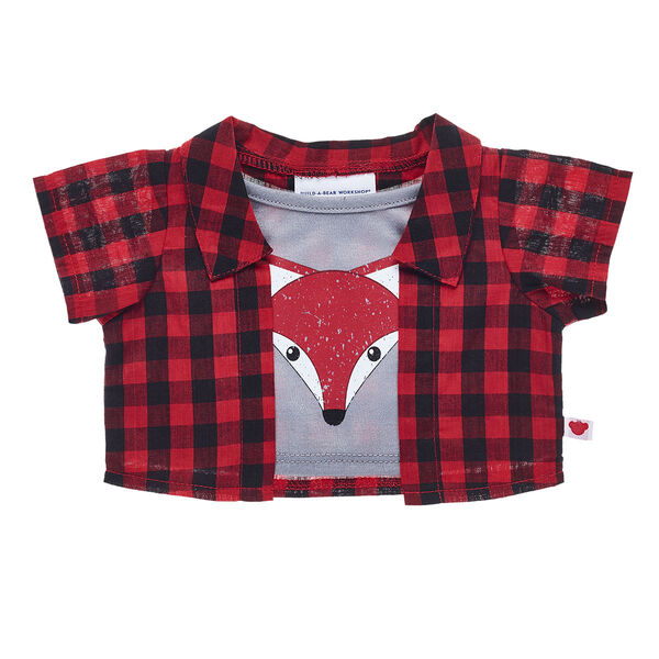 If your furry friend is sly or mischievous just like a bushy-tailed fox, then this fun shirt is the perfect style choice. This cute 2-fer top has a red and black plaid shirt with a stylish fox graphic printed on the grey shirt underneath it.