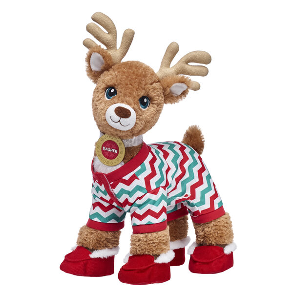 Nicknamed The Athletic Dreamer, Dasher spreads holiday cheer in snuggly style thanks to this cuddly stuffed animal gift set! In addition to his personalised medallion, Dasher's colourful sleeper provides a festive look. His red slippers will also ensure that his hooves are warm this winter!