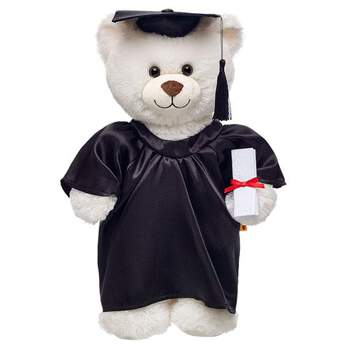 Give a personalised graduation gift when you outfit a teddy bear in this black graduation set. The set includes a black satin gown, hat, plush diploma and tassel. Say congratulations with a beary special graduation teddy bear.