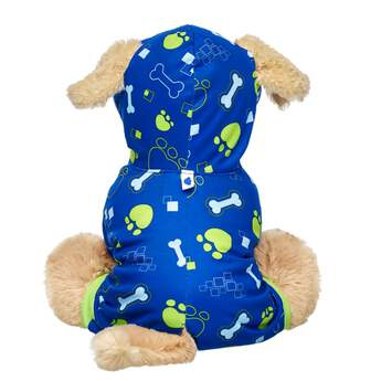 Your Promise Pet will be doggone cosy in this adorable printed sleeper! This blue sleeper has green trim and a bone and paw print design. It also features a hoodie and holes for their ears and tail! Care for your pet by adding this super cute look to your Promise Pets collection!