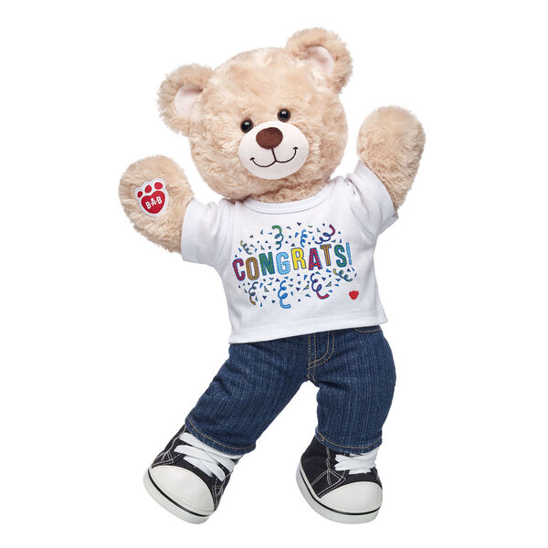 YAY! No matter what you're looking to celeBEARate, this cuddly gift set is an exciting choice! Happy Hugs is a classic teddy and comes wearing a classic outfit, too. Add bear hugs to any occasion with this fun gift set! <p>Price includes:</p>  <ul>    <li>Happy Hugs Teddy</li>     <li>Congrats T-Shirt</li>    <li>Denim Jeans</li>    <li>Black Canvas High-Tops</li> </ul>