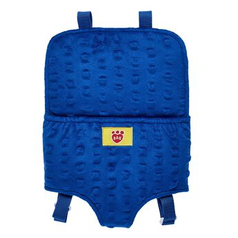 Take your favourite furry friend with you wherever you go with this handy furry friend carrier! This blue stuffed animal carrier holds one furry friend and is worn with a backpack. Complete the perfect gift by adding this carrier to any furry friend!