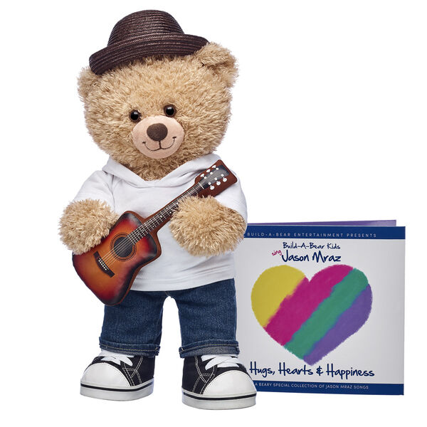 Jason Mraz teddy bear with plush guitar teddy bear clothes and CD Gift Set