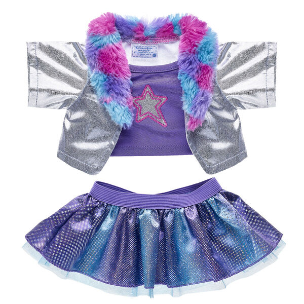 Give your furry friend a look as bright as their colourful personality! This stylish two-piece outfit includes a silver and purple top with a matching sparkly skirt. The top includes a faux fur collar!