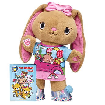 """The creative Pawlette is a bunny who loves to read, so pick this Kabu gift set that includes a copy of the high-stakes Kabu graphic novel! This adventure-filled Kabu story will keep you guessing at every turn - and this cute stuffed animal gift set lets you read the story with Pawlette by your side! <p>Price includes:</p>  <ul>    <li>Kabu™ Pawlette</li>     <li>Kabu™ Pawlette Skirt Set 2 pc. </li>    <li>Kabu™ Pink Heart Bow </li>    <li>Kabu™ Cotton Candy Sneakers  </li>    <li>Kabu™ """"""""The Grreat Race"""""""" Graphic Novel</li> </ul>"""