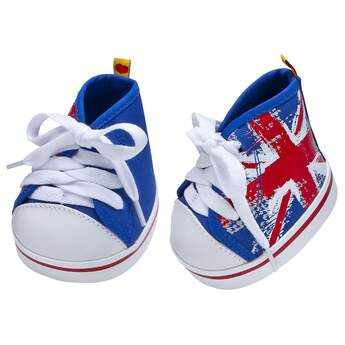 Teddy bear size blue and red high-tops have a Union Jack graphic.