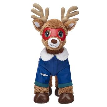 Get your furry friend ready for flying weather with this super cool jacket and goggle set! The blue stuffed animal jacket features a white faux fur collar and a silver emblem on the left sleeve. The red goggles are a must-have for flying!
