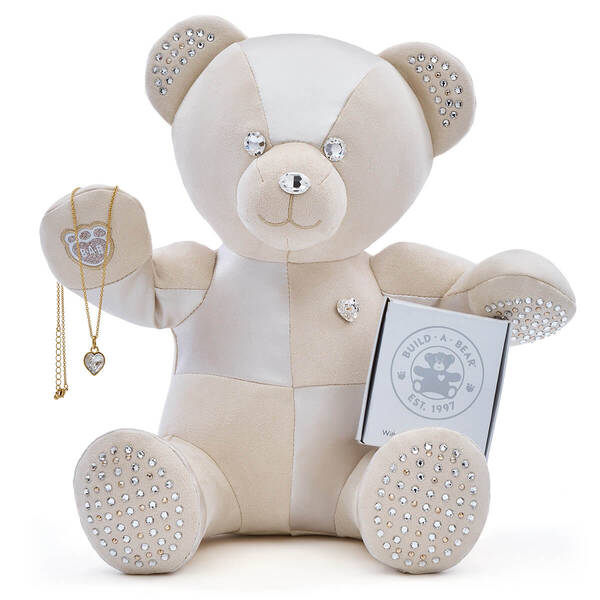 Adult Collectible Online Exclusive Build-A-Bear Featuring Heart Stone Pendant Gold Necklace with Swarovski® crystals, , hi-res