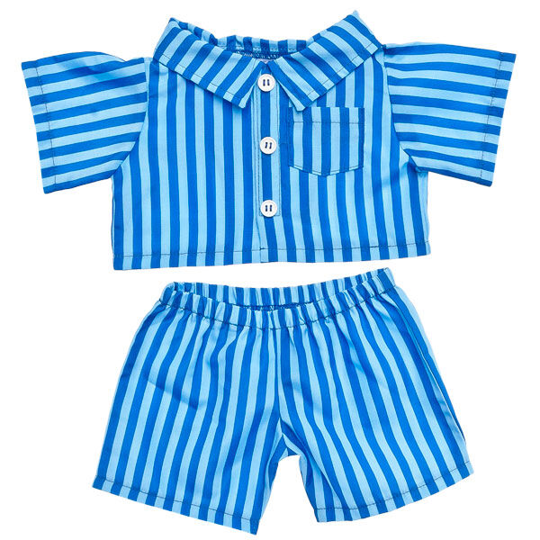 Your furry friend can snuggle up in style in these Blue PJs. The button down top and coordinating bottoms feature blue stripes. The classic style makes them the perfect look for any furry friend.