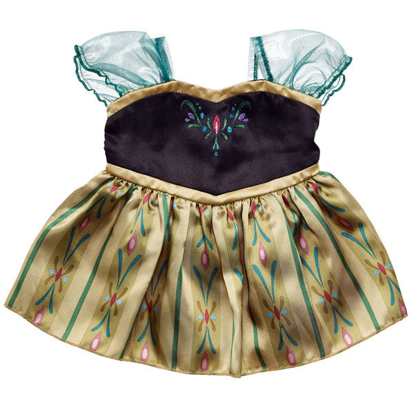 Your furry friend will look as pretty as Princess Anna in her Coronation Gown! This lovely dress features a black bodice with beautiful details and gold trim. The gold skirt has a beautiful Nordic pattern, and the sheer green cap sleeves complete the look. Add Anna's Coronation Gown to any furry friend to make the perfect Frozen gift. © Disney