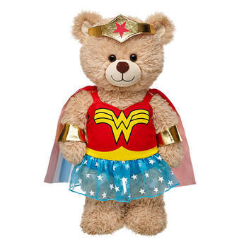 """Hera, give me strength! Transform any furry friend into Wonder Woman with the classic costume that includes a red dress with  a """"W"""" on it, yellow belt, and blue skirt with white stars. The attached red, white and blue cape has stars and stripes on it. Plus, it includes Wonder Woman's bracelets and tiara. Save the day together! WONDER WOMAN and all related characters and elements  & ™ DC Comics."""