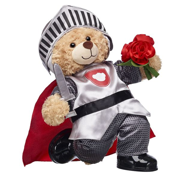 teddy bear in knight costume with bouquet valentine's day gift set