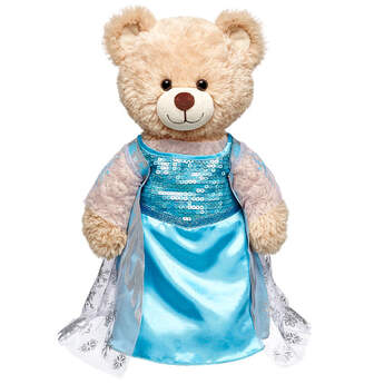 Make a cool teddy bear gift with this Elsa Costume. The teddy bear size Elsa Costume includes an ice blue and white dress with shimmering sequins and snowflakes. Dress your favourite stuffed animal like the Snow Queen in this Elsa Costume to make a great Frozen themed gift. © Disney