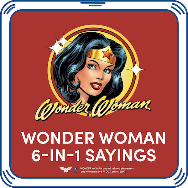 I am Wonder Woman! Add this hero's signature sayings to any furry friend for action-packed fun. WONDER WOMAN and all related characters and elements  & ™ DC Comics.
