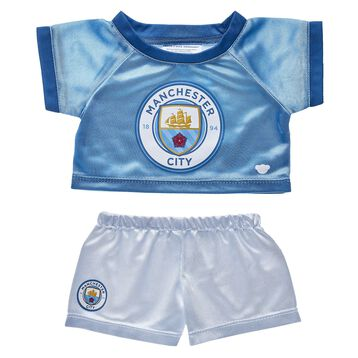 Goal! Cheer on Manchester City F.C. with this blue and white football jersey that's the perfect size for your furry friend!