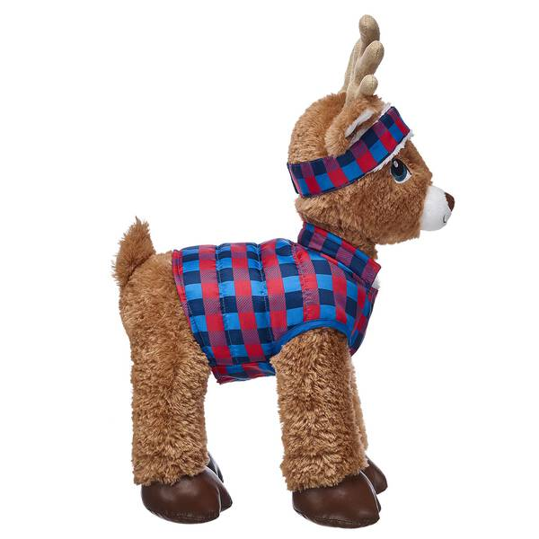 Cold-weather fun has never looked this good! This blue and red puffer coat for stuffed animals has a classic plaid pattern and even features an opening for your furry friend's collar to go through. A matching plaid headband completes this winter look.