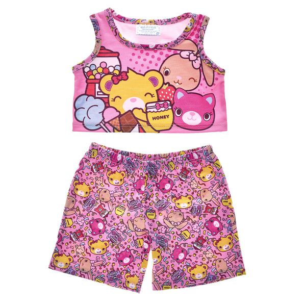 Even Kabu friends get a lil' sleepy sometimes! This pink pair of PJs features Bearnice, Pawlette and Catlynn and adds a fun pop of color to bedtime and makes a sweet fashion choice for sleepovers with friends! Shop online or in store at Build-A-Bear Workshop!