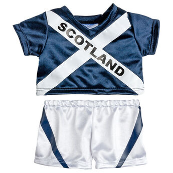 Goal! Teddy bear size Scotland Football Kit includes jersey and shorts.