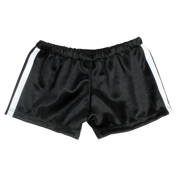 These bear-sized Black Athletic Shorts have a white stripe down the side. They are perfect for a sporty furry friend!