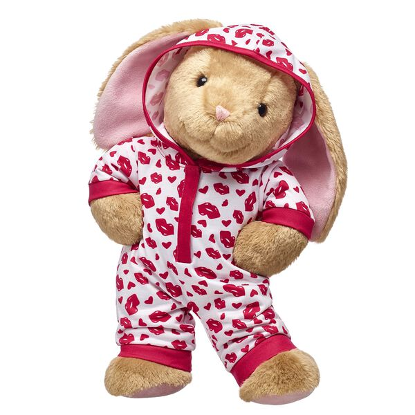 bunny stuffed animal with lip print sleeper valentines day gift set