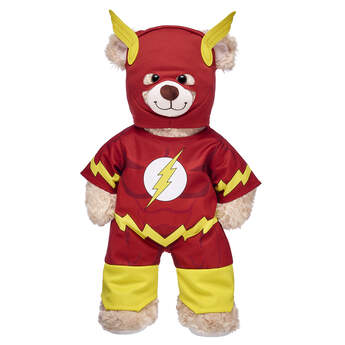 The Flash's iconic red and gold costume is now in furry friend form! This two-piece costume features the signature lightning bolt logo and the matching mask is sure to make any furry friend a true superhero. ™ & © DC Comics. (s13)