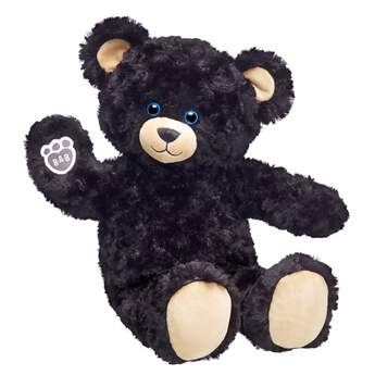 midnight moon stuffed black teddy bear sitting and waiving