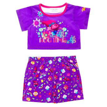 """It's off to bed in true DreamWorks Trolls splendor for any furry friend with these perfectly purple PJs! The top sports Poppy, flowers and """"Hug Time,"""" while the bottoms feature cupcakes, rainbows, flowers, Poppy, hearts and stars.DreamWorks Trolls © 2016 DreamWorks Animation LLC. All Rights Reserved."""