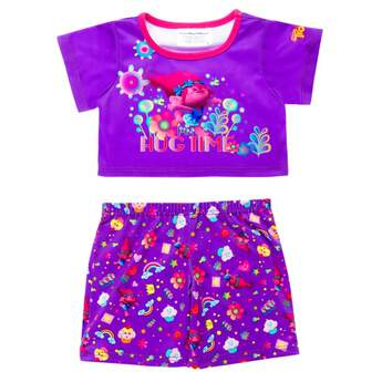 "It's off to bed in true DreamWorks Trolls splendor for any furry friend with these perfectly purple PJs! The top sports Poppy, flowers and ""Hug Time,"" while the bottoms feature cupcakes, rainbows, flowers, Poppy, hearts and stars.DreamWorks Trolls © 2016 DreamWorks Animation LLC. All Rights Reserved."