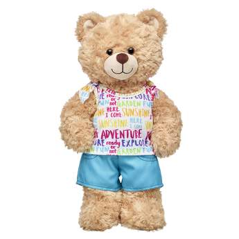 Go on an adventure with this colourful two-piece rainbow outfit for stuffed animals! Outfit a furry friend online to make the perfect gift. Make your own your own stuffed animal online with our Bear Builder or visit a store near you.
