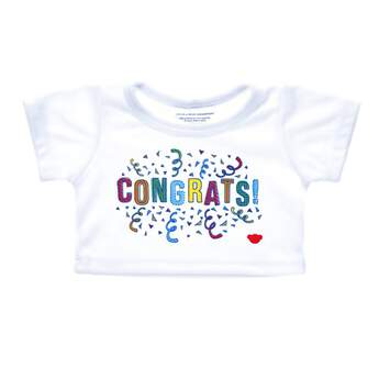 "Congratulations are in order! There's no cuter way to say ""Congrats!"" than with this furry friend-sized T-shirt. This white and red ringer tee has a red bear emblem on the bottom left and a festive ""Congrats!"" graphic with confetti in the middle. Dress a special furry friend in this fun T-shirt to make a one-of-a-kind gift!"