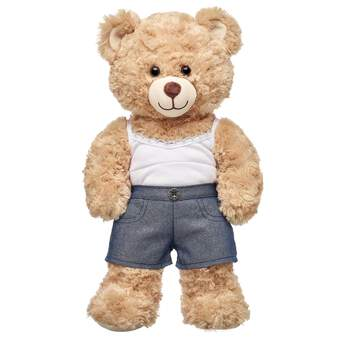 For a fun upgrade to the same old same old, be sure to add these sparkly denim shorts for stuffed animals to your furry friend's outfit! Outfit a furry friend online to make the perfect gift. Make your own your own stuffed animal online with our Bear Builder or visit a store near you.