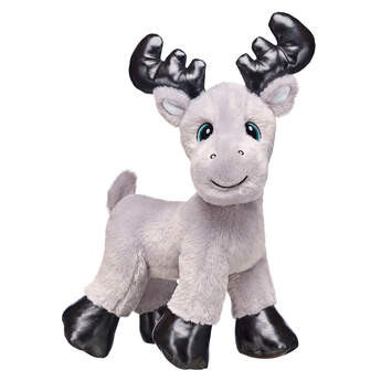 Go on a winter woodland adventure with Grey Gust Moose by your side! This adorable North Pole moose has black antlers and a soft coat of grey fur for warmth. This smiley moose loves hugging and snuggling with friends. You can personalise your own Grey Gust Moose stuffed animal with fun outfits, sounds, scents and accessories!