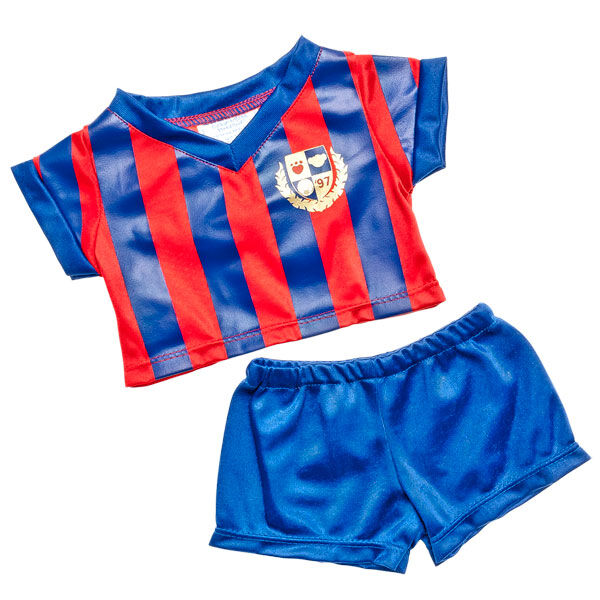 Goal! Your furry friend can be a football star in this teddy bear sized Red & Blue Football Kit. The red and blue vertical striped jersey is paired with coordinating blue shorts. Perfect for the football fan in your life!