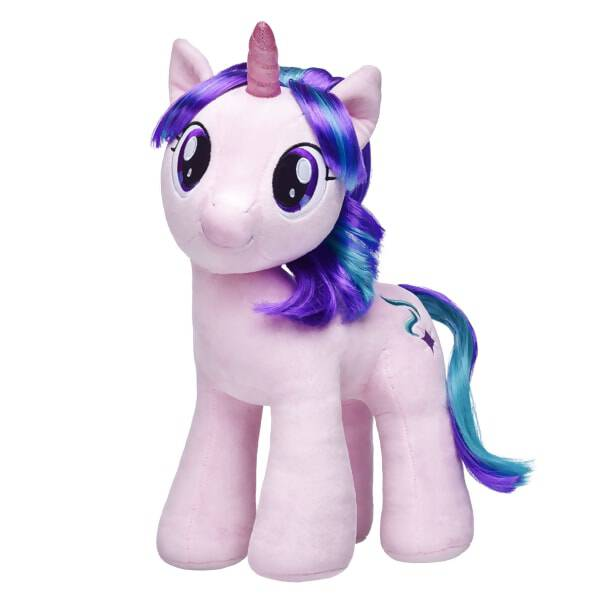 Ponies stick together always! The STARLIGHT GLIMMER furry friend joins the MY LITTLE PONY collection at Build-A-Bear Workshop on her quest to spread the magic of friendship. This beautiful unicorn pony has a pink coat of fur and a shimmering purple and teal mane and tail. Her cutie mark is a purple and white star with two blue streams. Once a villainous pony, STARLIGHT GLIMMER has joined forces for good with the ponies of Equestria. Personalize STARLIGHT GLIMMER with cute MY LITTLE PONY outfits and accessories! MY LITTLE PONY and all related characters are trademarks of Hasbro and are used with permission.© 2017 Hasbro. All Rights Reserved.