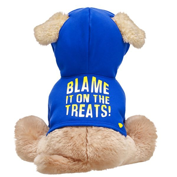 "Does your Promise Pet have a mischievous side? Enjoy a good laugh while you continue to train them with this cute blue hoodie! This hoodie is specially designed for Promise Pets and features a playful ""Blame it on the Treats!"" graphic in yellow on the back."