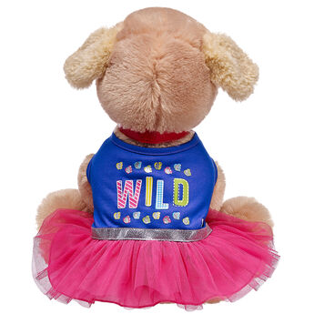 """Show off your Promise Pet's wild side with this fun dress! The blue top features a playful """"Wild"""" graphic while the tulle bottom portion is a bright fuchsia colour. A glittery silver belt around the middle is the perfect touch for this adventurous outfit!"""