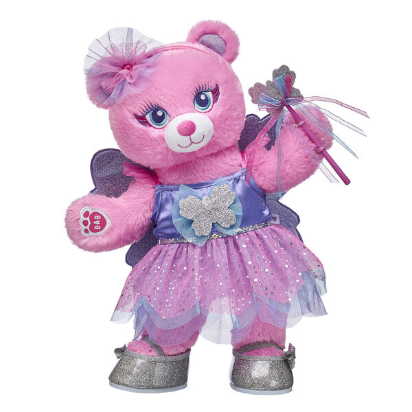 Make your own magical moments with Fairy Bear! With a sparkly butterfly fairy costume and a matching headband and pair of flats, this special gift set is perfect for lots of fluttering fun!  <p>Price includes:</p>  <ul>     <li>Fairy Bear</li>     <li>Butterfly Fairy Costume 2 pc.</li>    <li>Sparkle Bow Headband </li>    <li>Silver Sparkle Bow Flats</li> </ul>