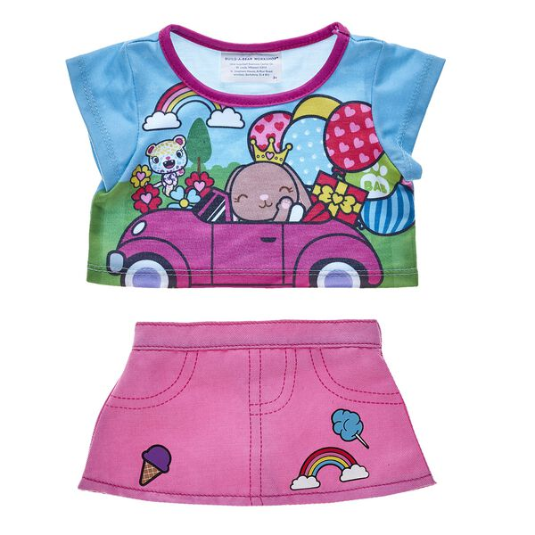 Ice cream, cotton candy, rainbows and balloons – all of Pawlette's favorite things in one outfit! This fun kawaii skirt and tee are the perfect match!