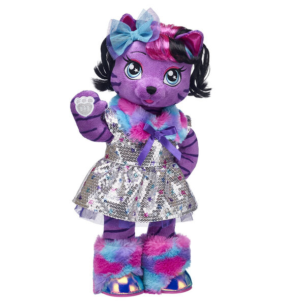 The fearless lead singer of the Honey Girls is ready to take the stage in this stuffed animal gift set! This purple plush tiger has the perfect amount of glitz and glam with her sparkly sequin outfit and faux fur boots.