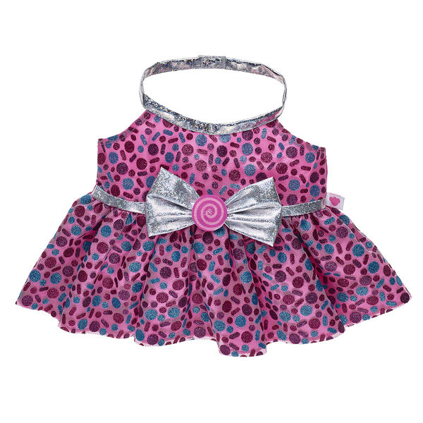 Add a little glitz and glam to your furry friend's look with this stylish Candy Sparkle Dress! This colourful dress has a metallic silver bow and a fun all-over print of glittery sweet treats.