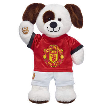 Goal! This cuddly stuffed animal gift set is a fun way to score with the football fan in your life! Ruff n' Tumble Puppy is ready to play on the pitch with its Manchester United football kit. It's a great gift for sports fans!