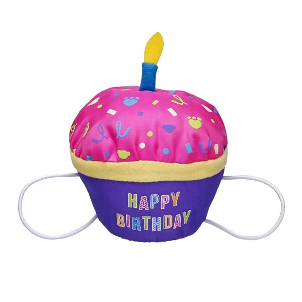 Happy birthday! This special cupcake is just for your furry friend. The pink-topped cupcake attaches to a furry friend's paws with elastic bands and has a pretend candle on top.