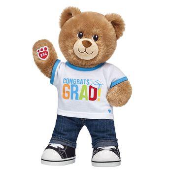 """A BEARY special ""Congrats!"" to the Class of 2018! Whether your graduate just finished preschool or needs a cuddly university care package, this cute set makes for an A+ grad gift idea! <p>Price includes:</p>  <ul>    <li>Lil' Brownie Cub</li>     <li>Congrats Grad T-Shirt</li>    <li>Denim Jeans</li>    <li>Black Canvas High-Tops</li> </ul>"""