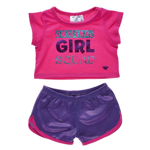 Dress the furry friends in your girl squad in this super fun outfit! This sporty pink and purple outfit has the PAWfect amount of sparkly glitter. Personlize a furry friend to make the perfect gift. Shop online or visit a store near you!