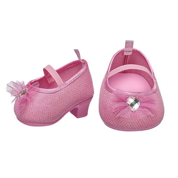 FURbulous! These pink bear-sized high heels have a sparkly finish and a cute bow with a gem in the center. Personlize a furry friend to make the perfect gift. Shop online or visit a store near you!