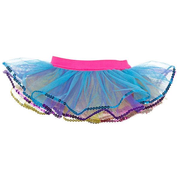 Teddy bear size rainbow-coloured tulle tutu skirt has sequin trim.