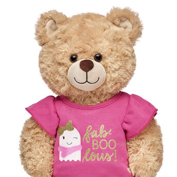 What's more fab-BOO-lous than a fashionable ghost?! This stylish pink T-shirt for stuffed animals provides a fun Halloween look for your furry friend.