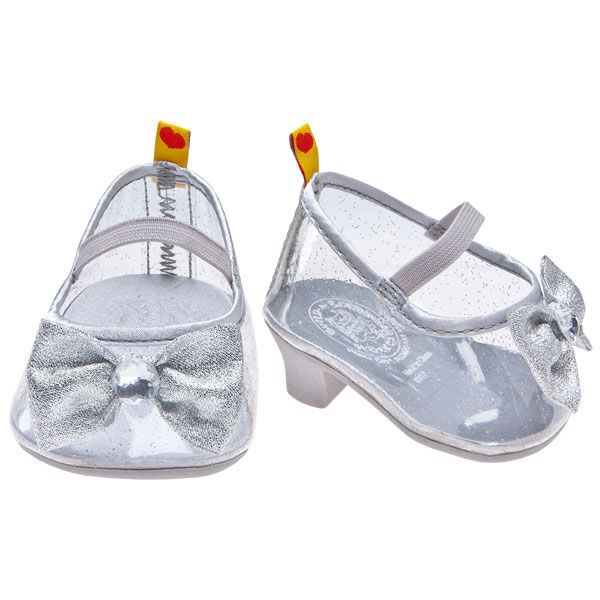 Teddy bear size high heels have a silver-coloured sparkle and cute bow with gem.