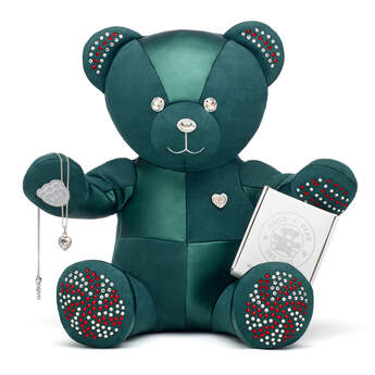 Online Exclusive Build-A-Bear Season's Sparklings Collectible Decorated with Swarovski® crystals and Heart Stone Pendant Silver Necklace, , hi-res