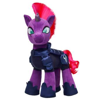 Adventure awaits when you dress Tempest Shadow in her signature armor! This dark navy five-piece armor set has everything Tempest Shadow needs to embark on the road ahead. Complete your MY LITTLE PONY collection! MY LITTLE PONY and all related characters are trademarks of Hasbro and are used with permission.  2017 Hasbro. All Rights Reserved.